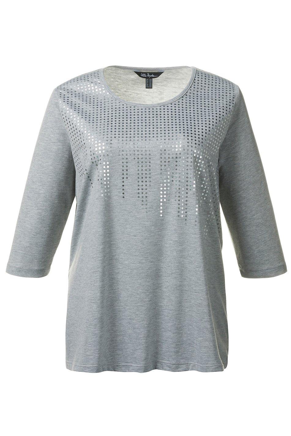 ulla popken 3 4 arm shirt mit glitter print hellgrau neu. Black Bedroom Furniture Sets. Home Design Ideas