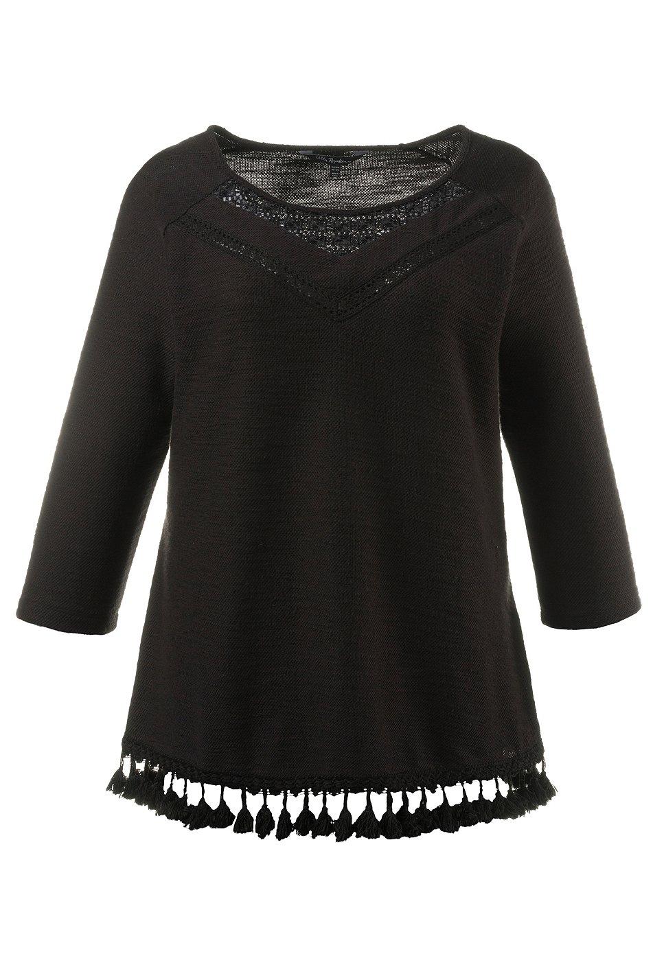 ulla popken sweatshirt mit spitzeneinsatz und bommelborde. Black Bedroom Furniture Sets. Home Design Ideas
