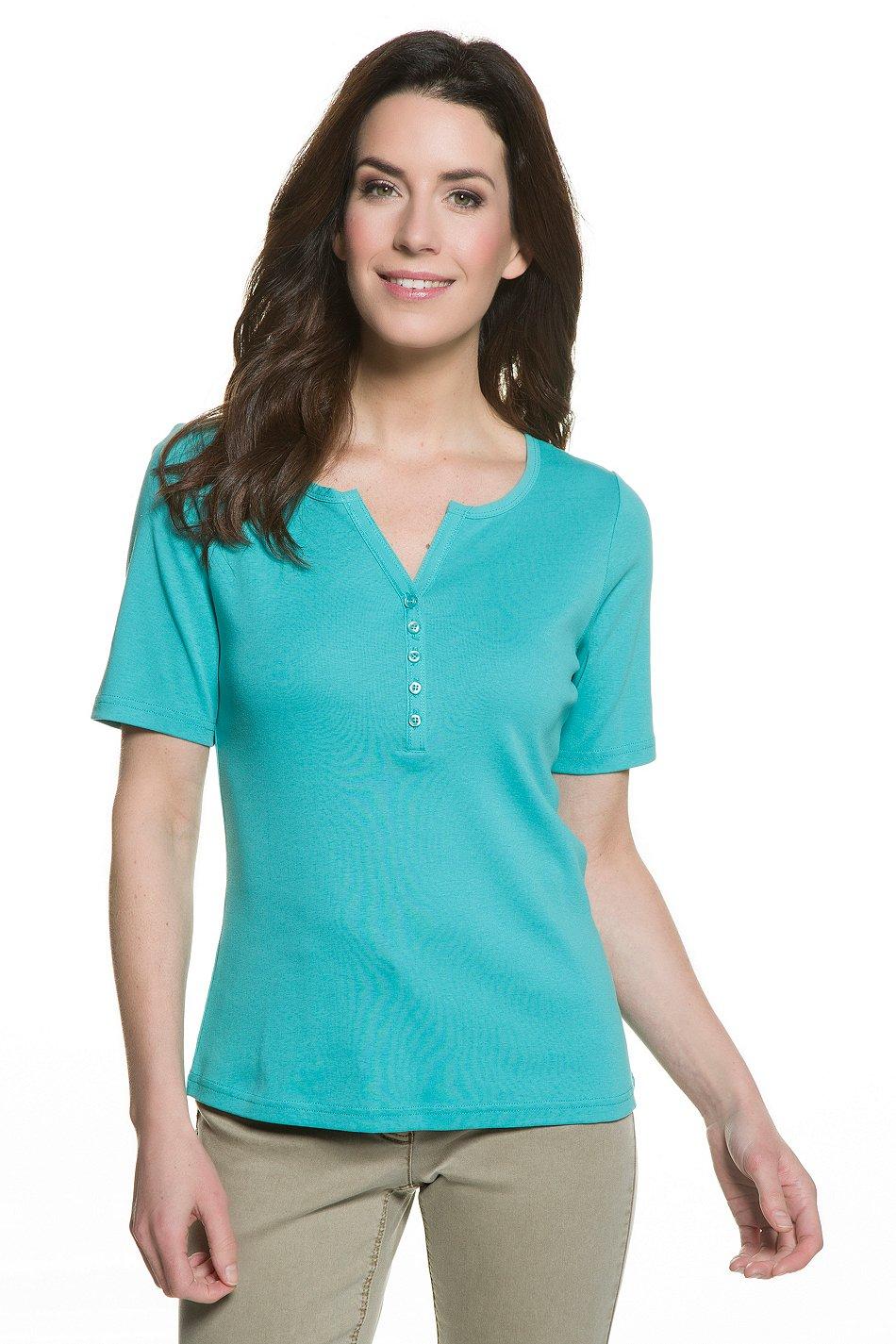 Gina Laura BASICS T-Shirt Tunikaausschnitt Rippjersey grün NEU Gr. L